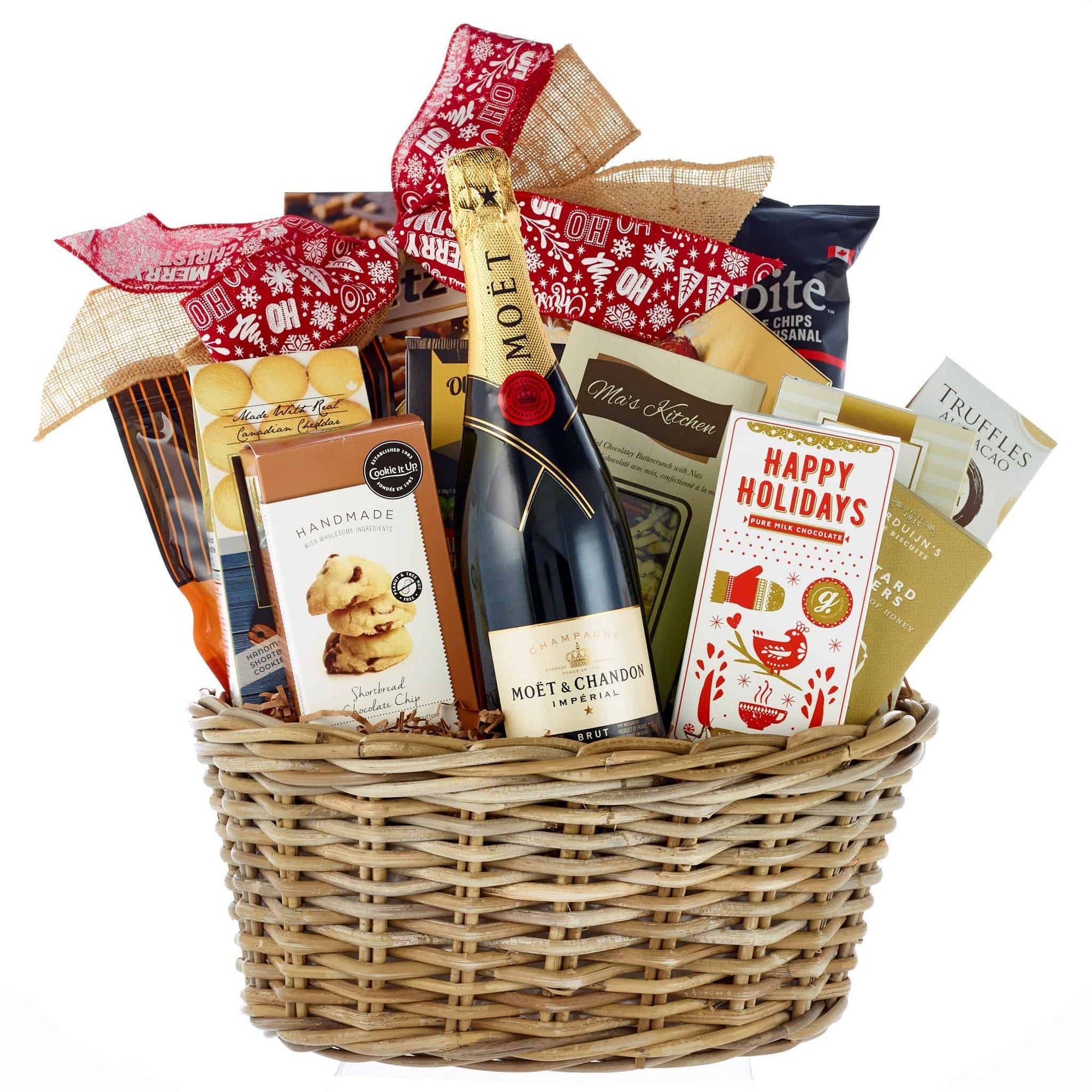 Christmas holiday gift basket with Moet and Chandon French Champagne.