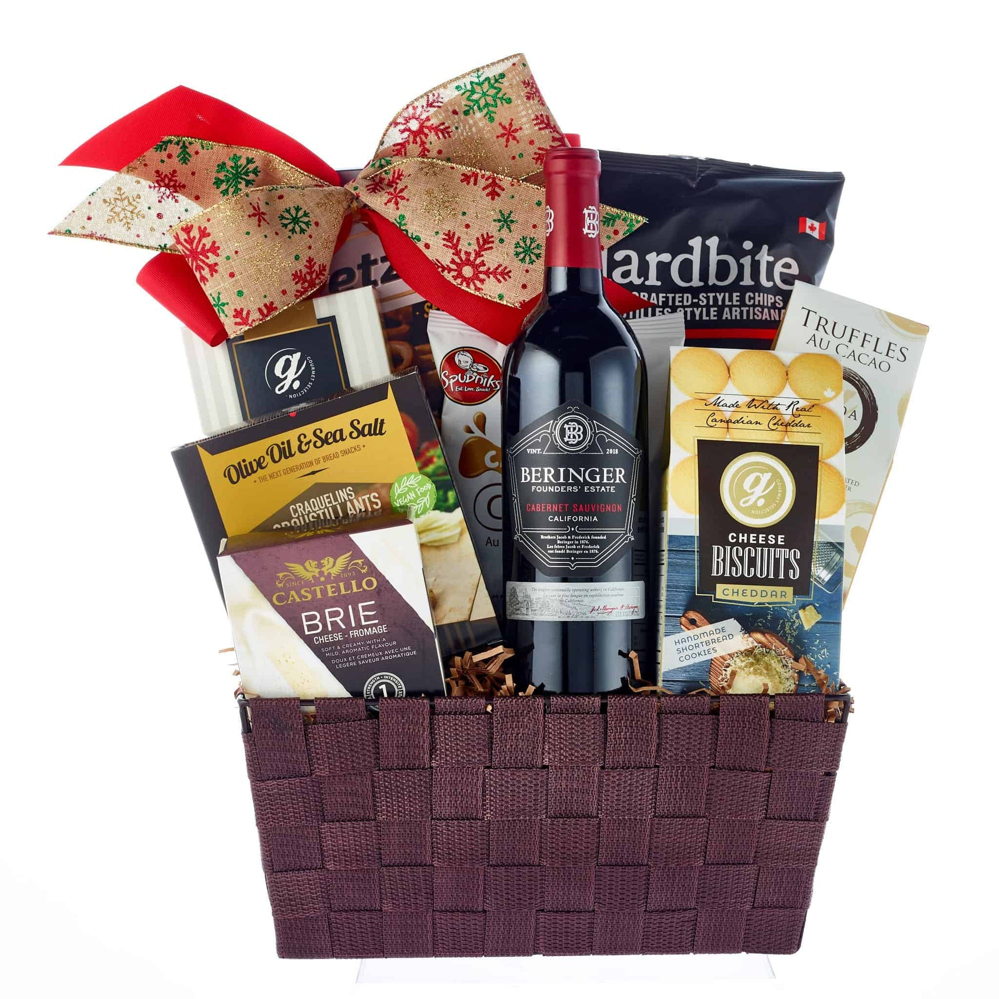 Premium beringer red wine christmas basket