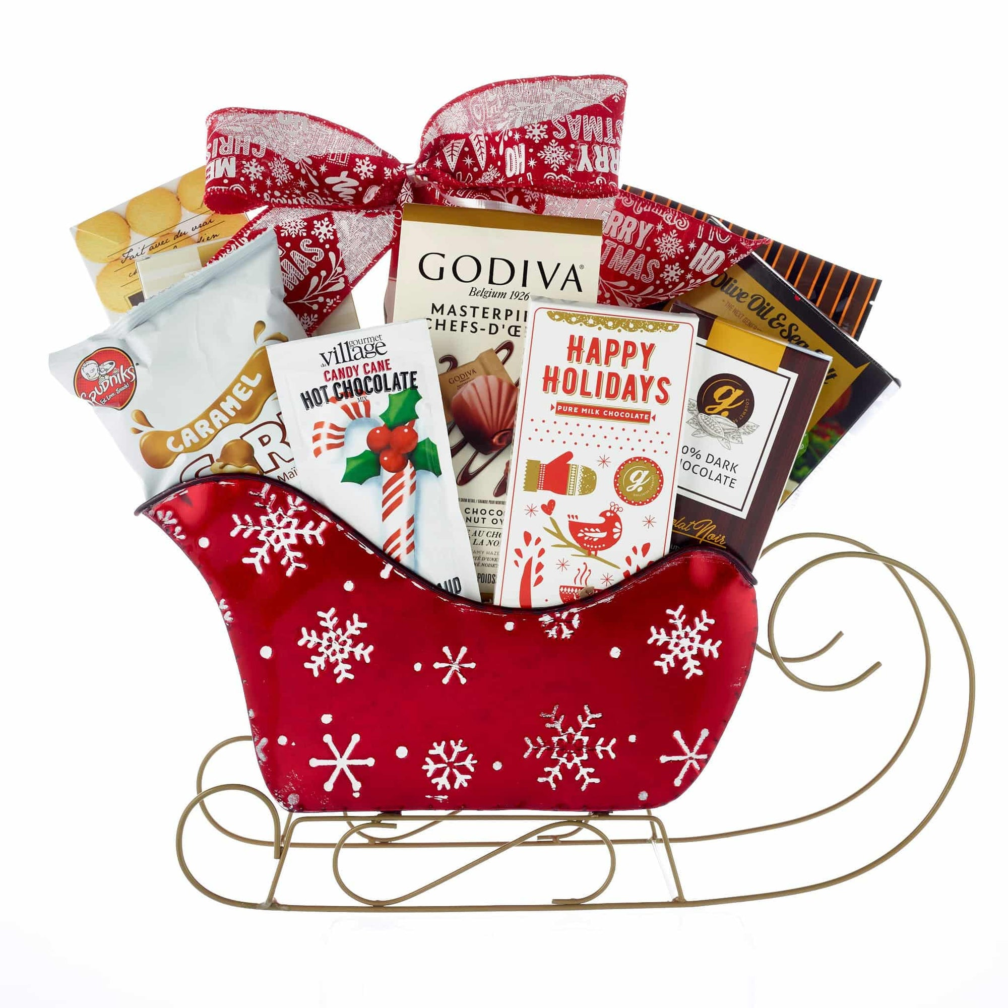 Christmas sleigh gift basket with chocolates, cookies and crackers