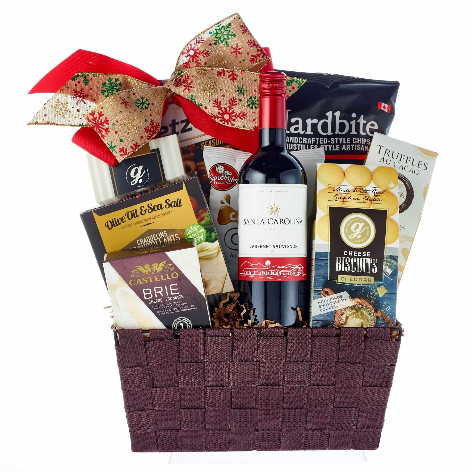 Holiday red wine and cheese gift hamper
