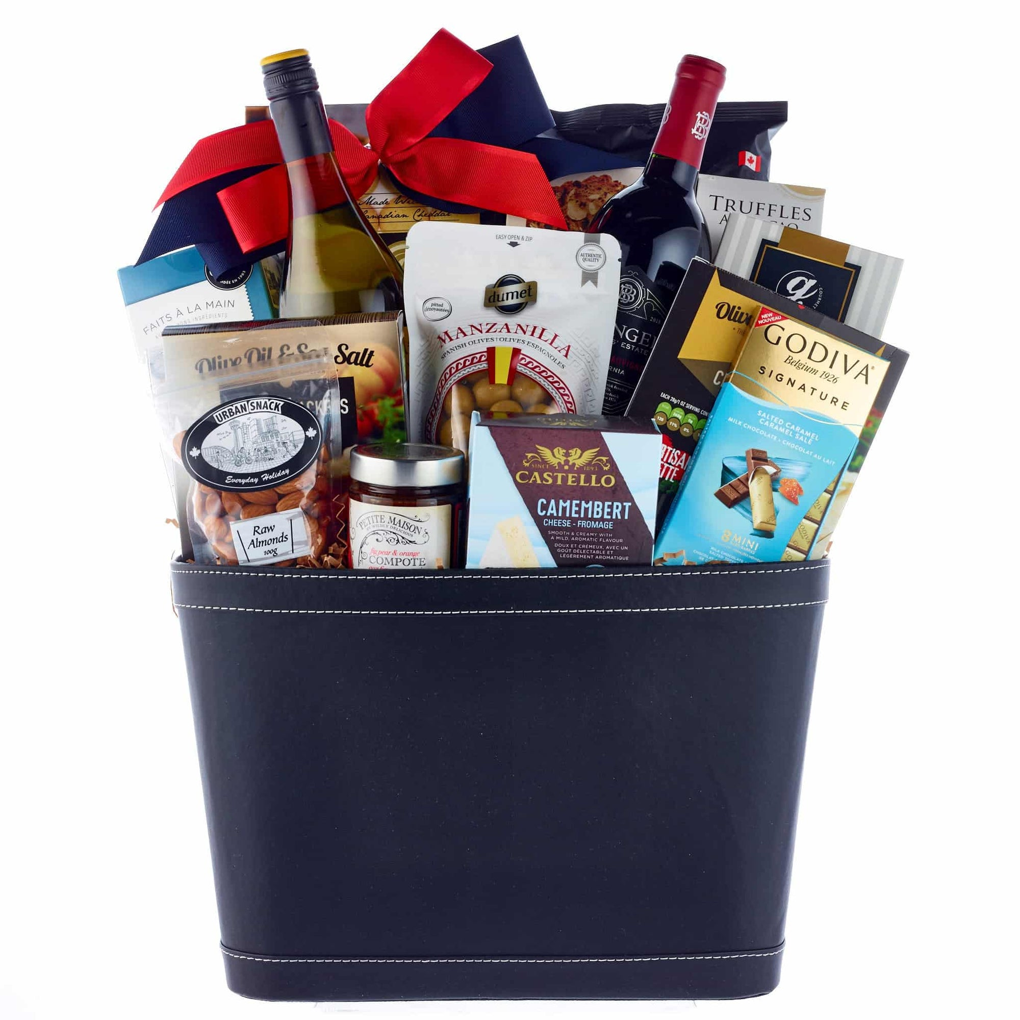 Corporate Luxurious gift with red and white wine.