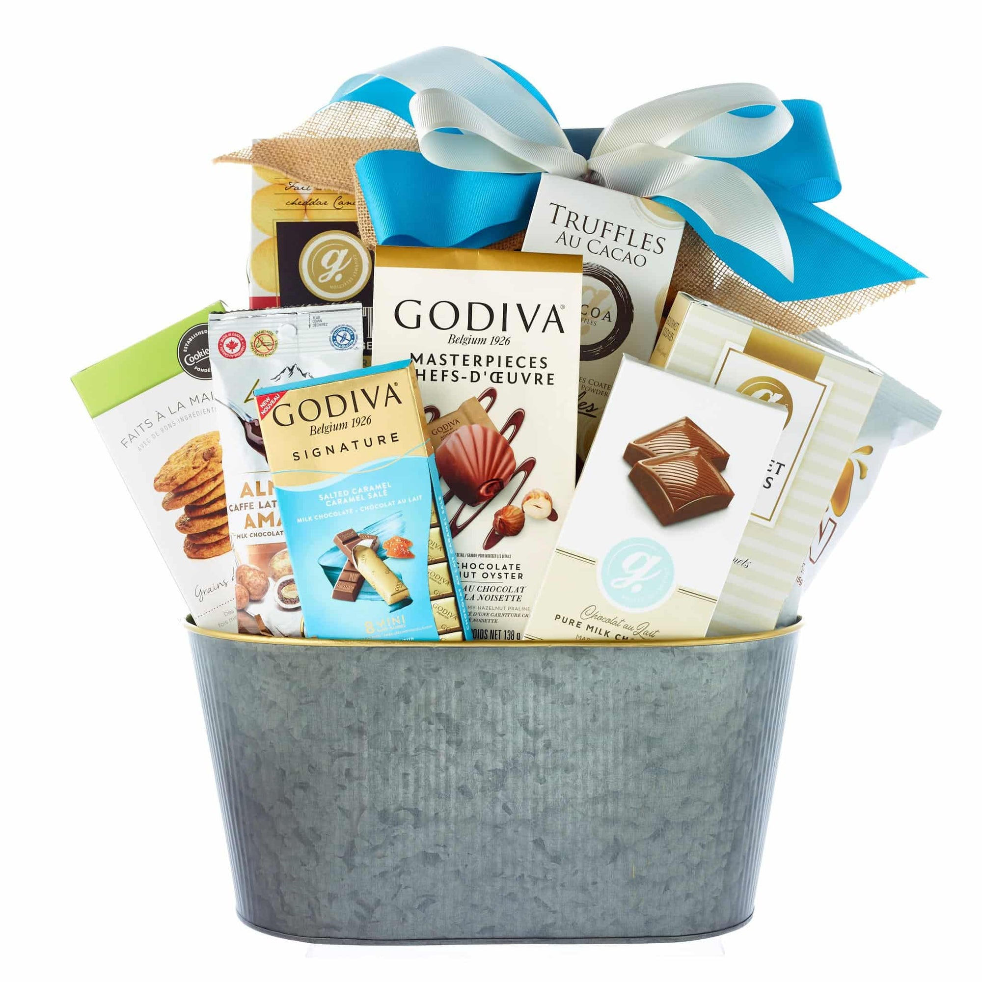 elegant chocolate basket with premium cookies in metal basket