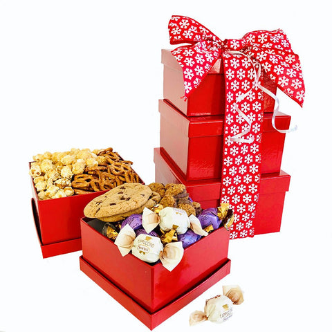 3 level gift tower with snacks
