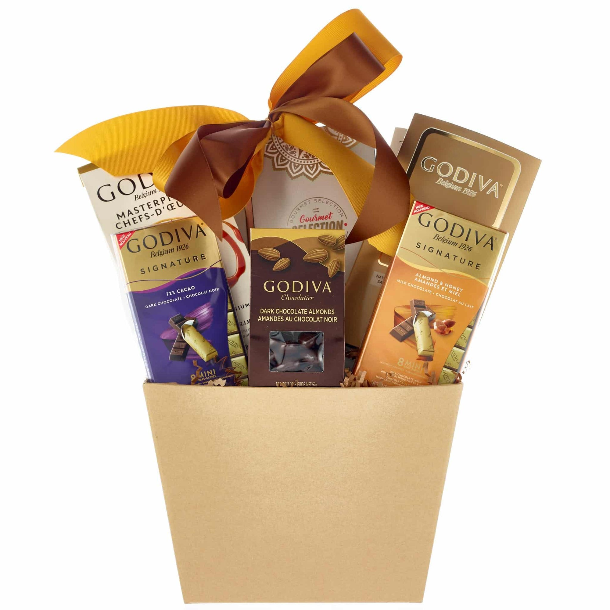 Small Godiva gift basket packed with chocolates