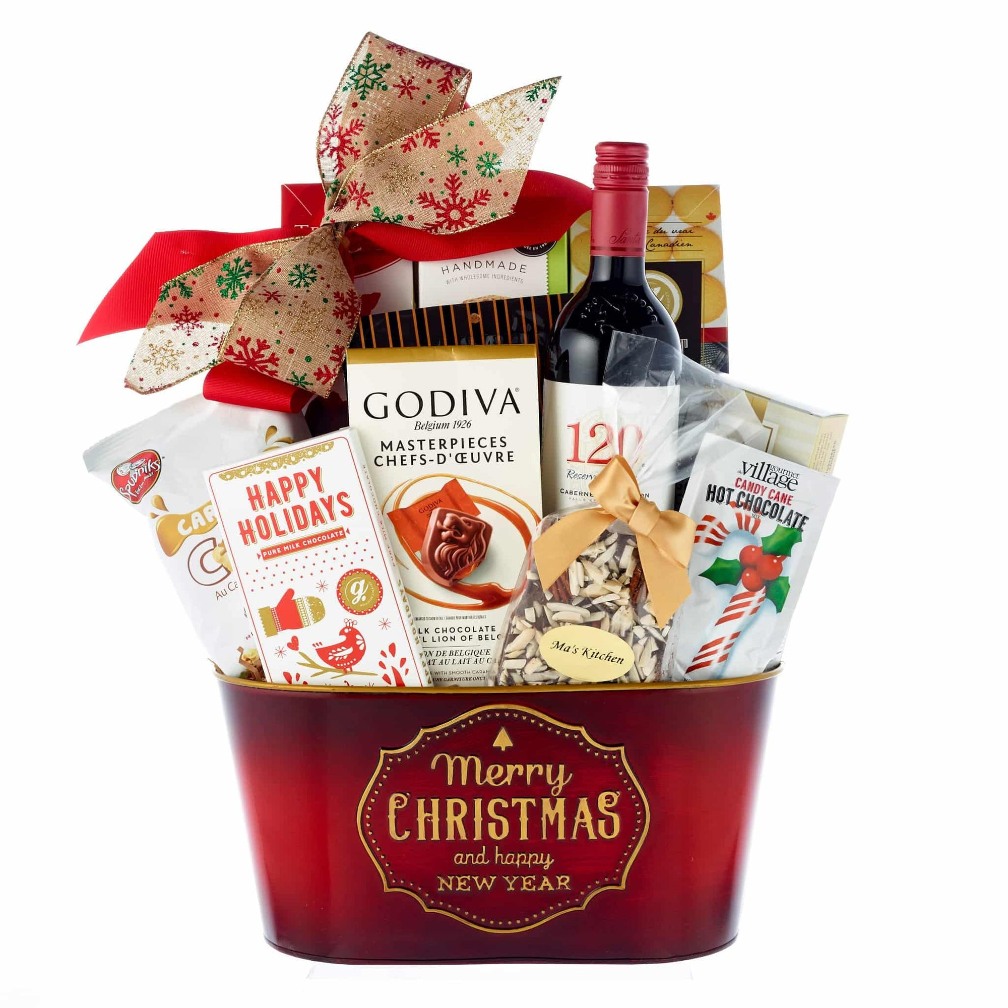 Merry Christmas red wine gift hamper delivery Toronto