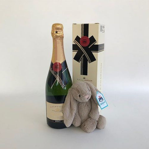 Champagne and plush gifts.