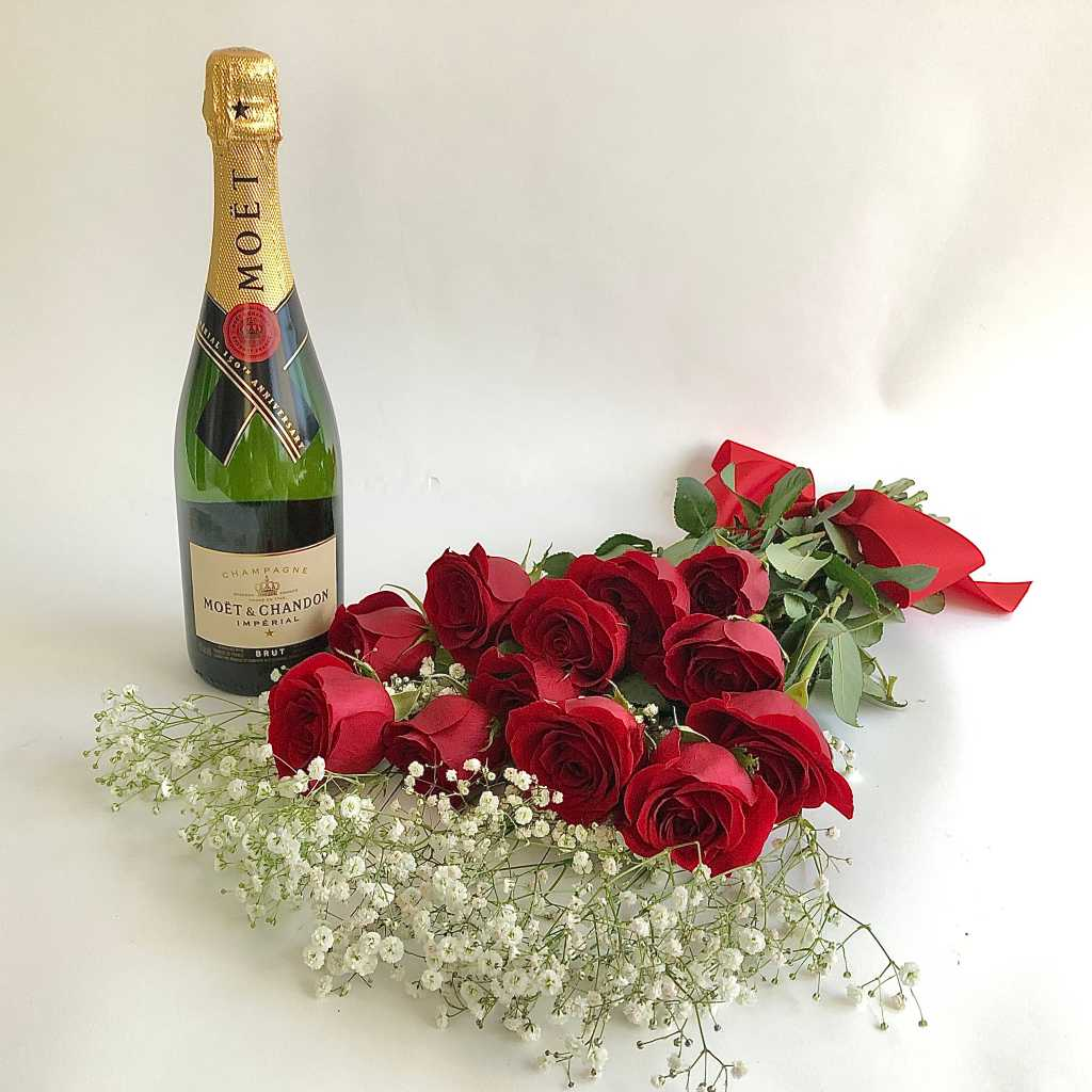 Moet French Champagne and red roses delivery