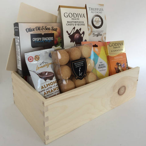 Mother's day gift box with chocolates and cookies