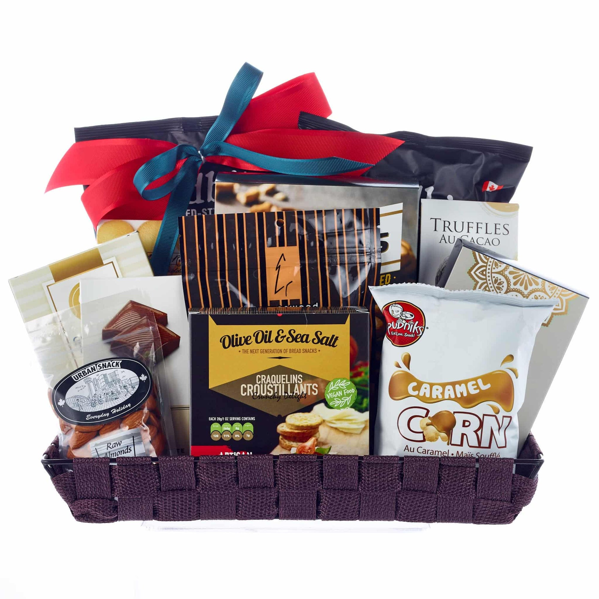 Office sharing gift basket with chocolates, popcorn, crackers, chips