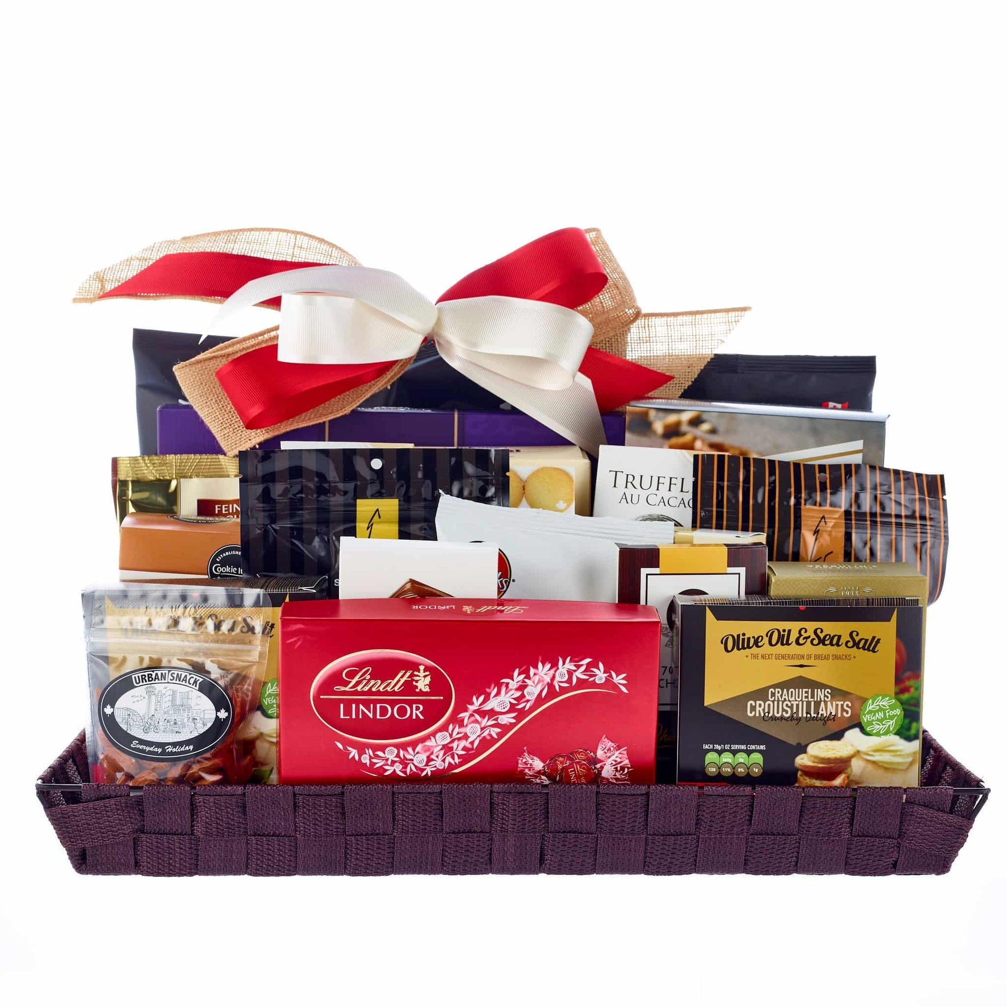 Extra large office sharing gift basket with assorted chocolates, and treats