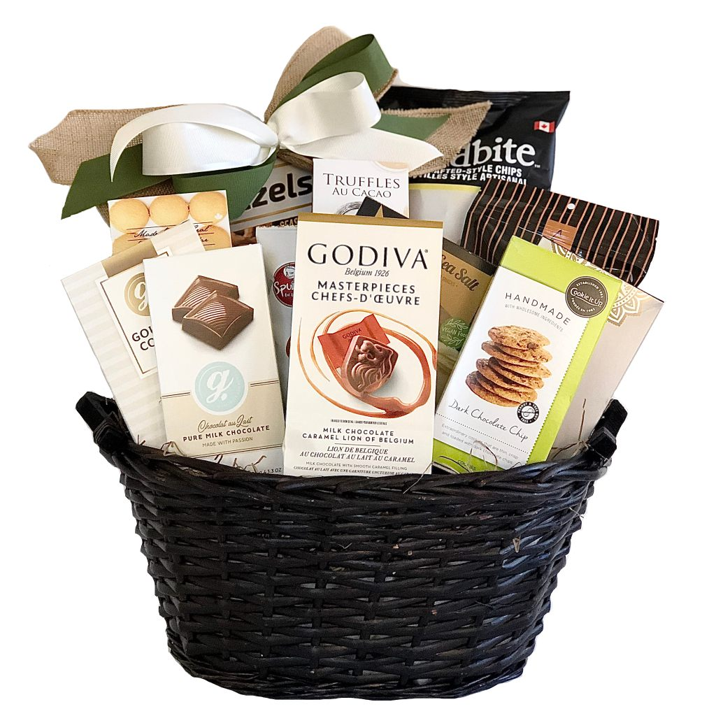 Holiday Basket with cookies, chocolates and crackers