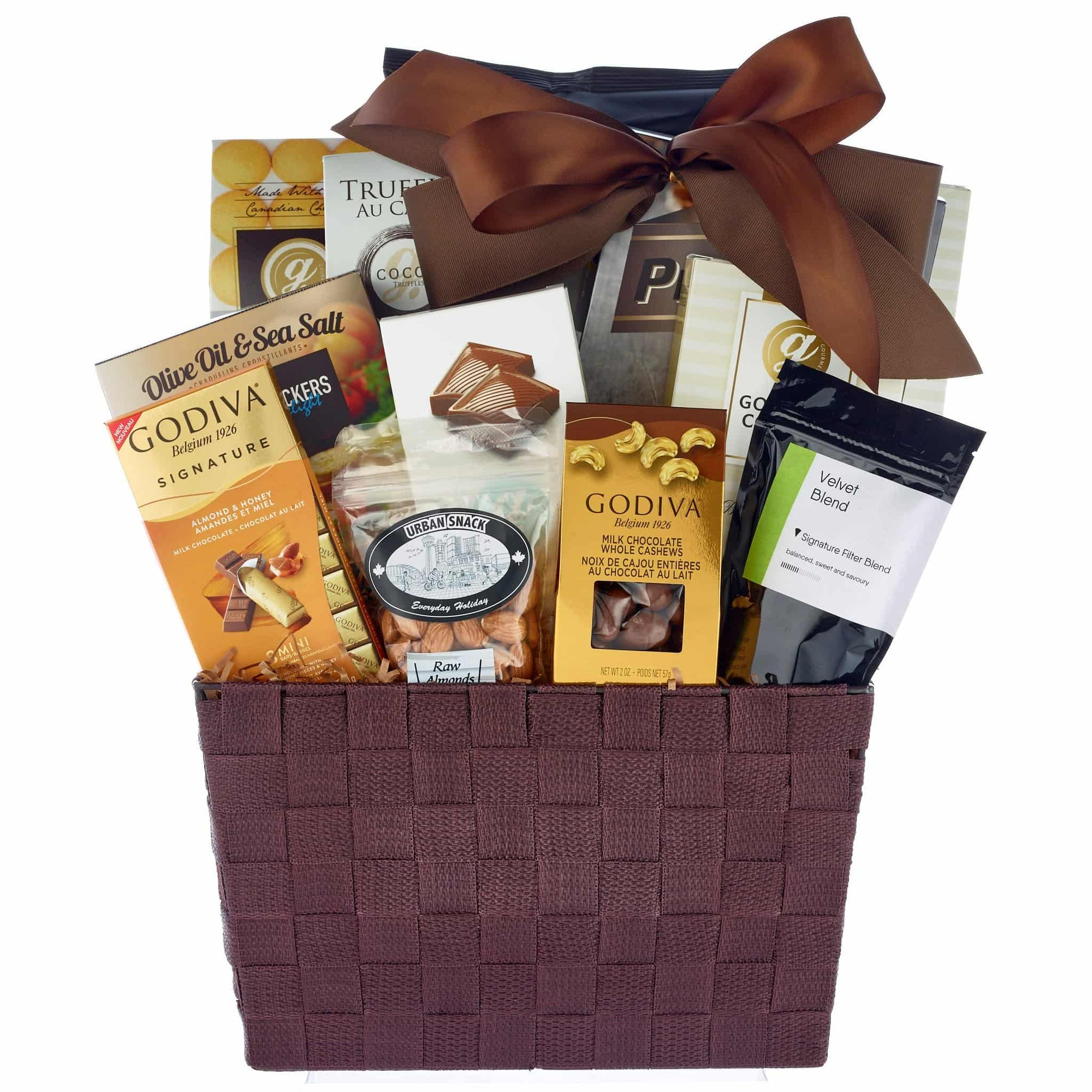 Large sympathy gift basket with godiva chocolates, nuts and crackers.