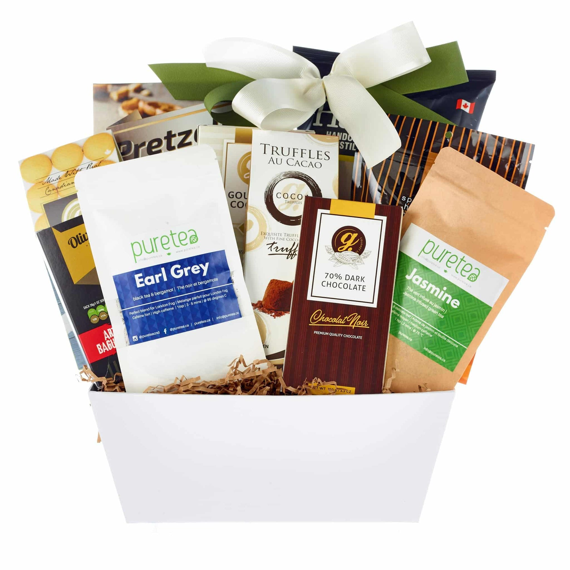 tea, chocolate, cookie gift hamper