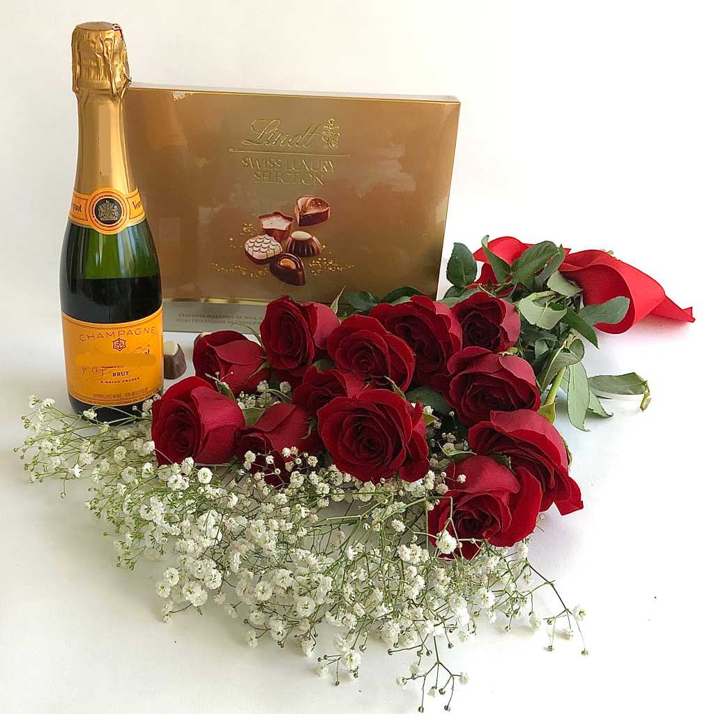 Veuve Clicquot, red roses and lindt chocolate box