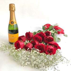 Veuve Clicquot Champagne and red roses