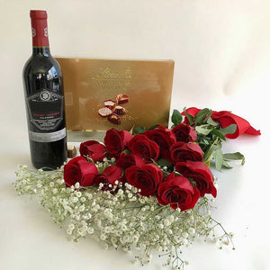 Beringer Cabernet Sauvignon, Lindt Chocolate and red roses