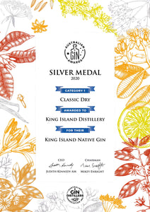 Australian Gin Awards King Island Distillery Native Gin Wins Silver Medal Classic Dry Gin