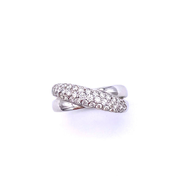 Pave Diamond Cross Over Ring A085LR6727W4411