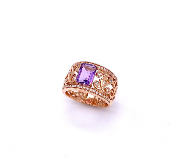 Emerald Cut Amethyst Ring in Rose Gold C401R03801AM