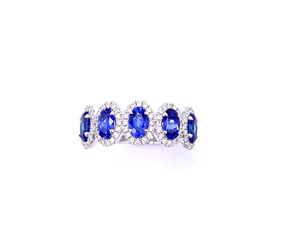 Oval Blue Sapphire and Diamond Band C093MR773