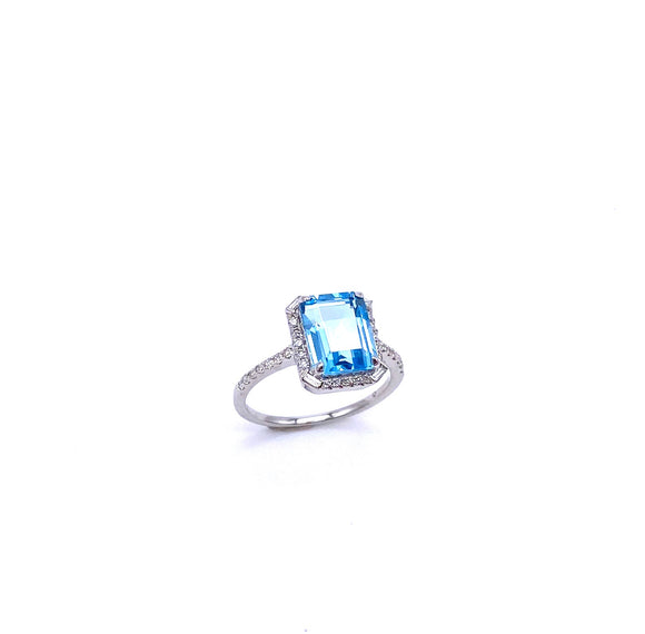 Blue Topaz and Diamond Ring C401R03940BTW