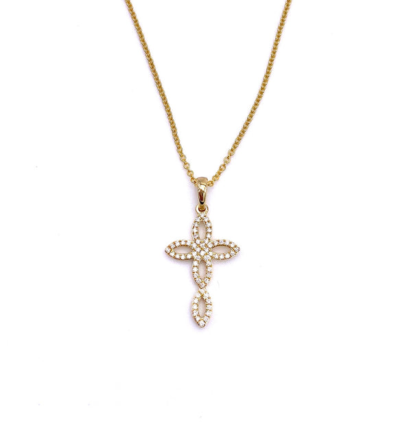 Yellow Gold Diamond Cross Necklace A317ZP403211152
