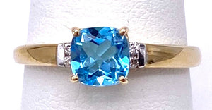 Blue Topaz Ring w/ Diamonds a Two Tone C05055-5718
