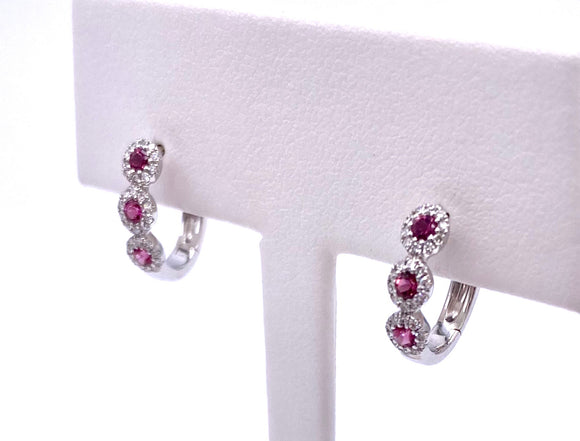 Pink Tourmaline Hinged Hoop Earrings F7906481
