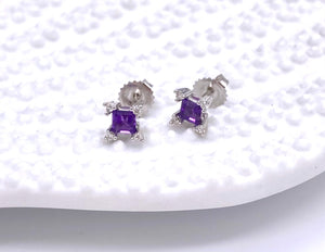 Petite Amethyst Earrings With Diamond Accents F085EG9443W44
