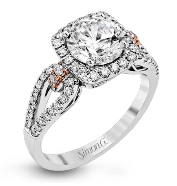 Simon G Engagement Ring With Rose Gold Accents A846MR1828