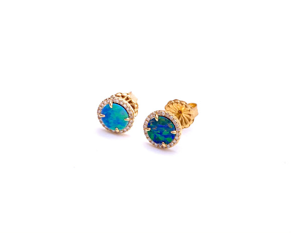 Boulder Opal Post Earrings in Yellow Gold F804ERDIA13910Y6