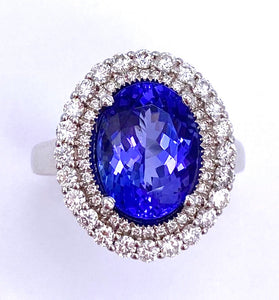 Stunning 4 Carat Tanzanite and Diamond Ring C245RG670644WCT