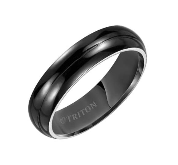 Domed Black Triton Wedding Band D00511-2048