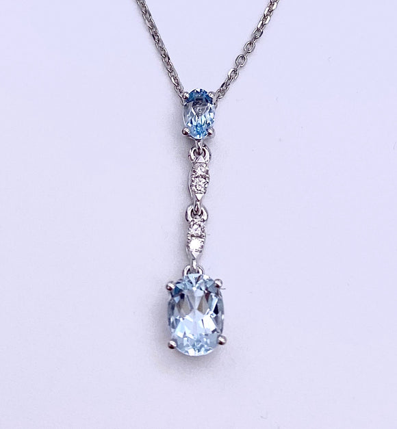 Aquamarine and Diamond Necklace F070PE11740