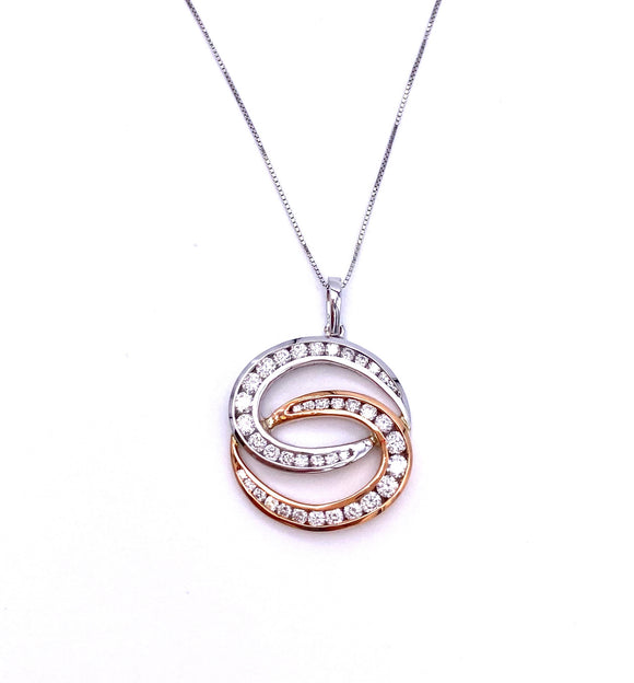 Diamond Necklace in Rose and White Gold A604P2221WP