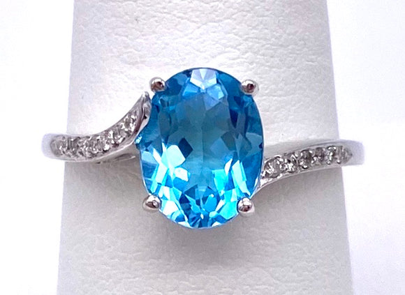 Oval Blue Topaz Ring Asymmetric Design C330B339235