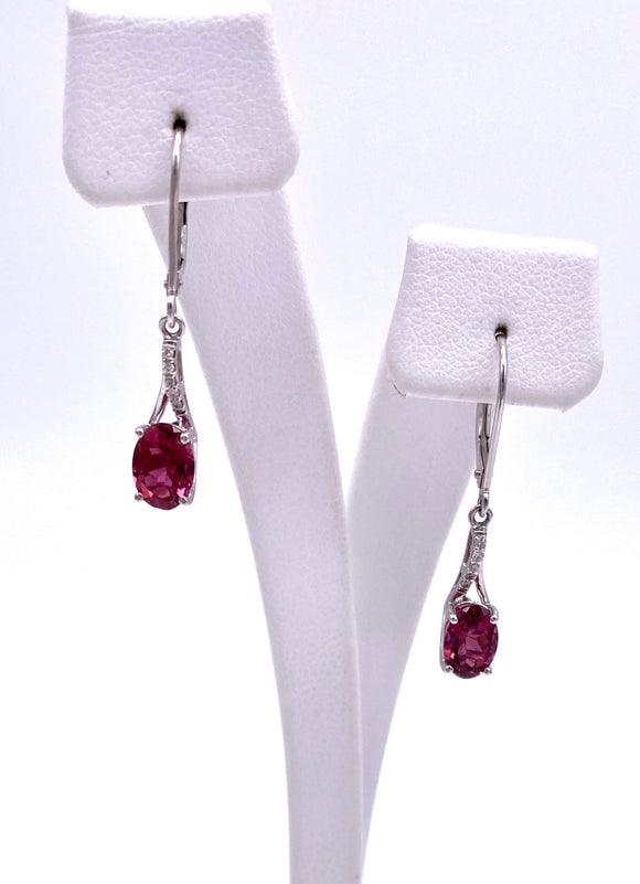 Pink Tourmaline Lever Back Earrings w/ Diamond Accents F368E589835