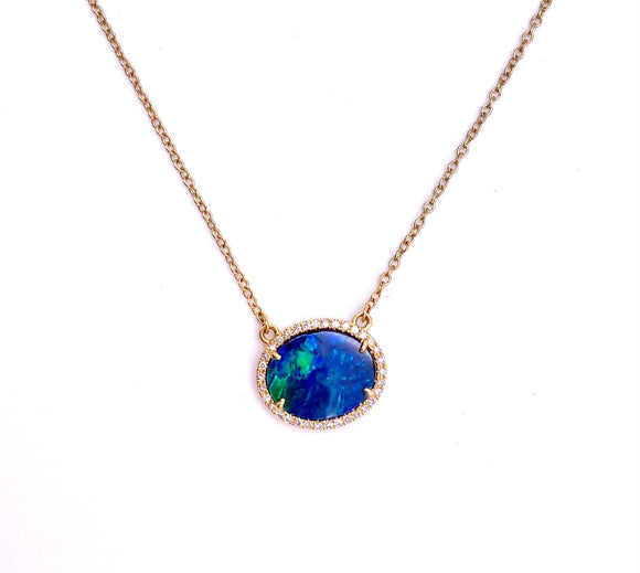 Boulder Opal Necklace in Yellow Gold F804PNDIA0429246