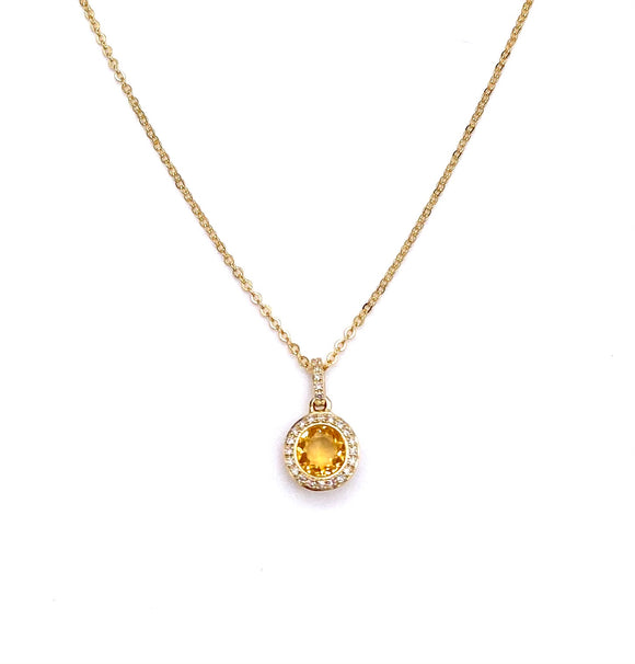 Pretty Citrine Necklace in Yellow Gold F401NO1422CTY