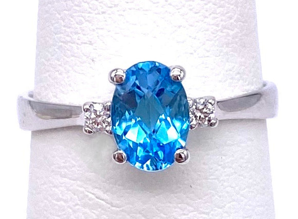 Oval Blue Topaz Ring W/ Simple Diamond Accents C070FD11644BT 14W