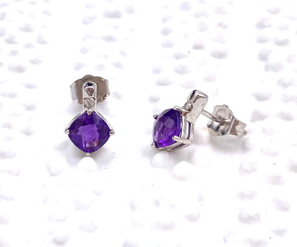 Pretty Checkerboard Cut Amethyst Earrings F096E0139