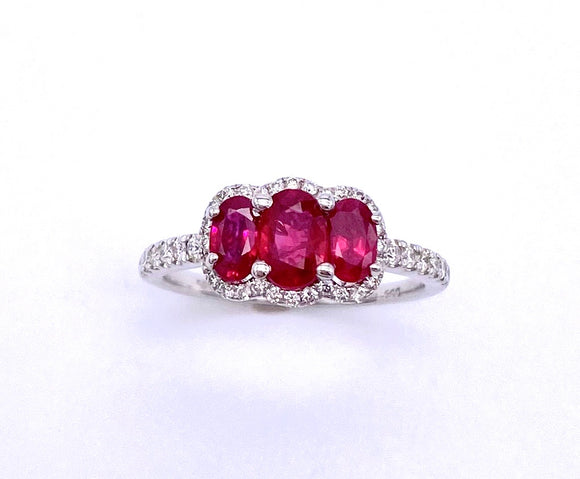 Three Stone Ruby and Diamond Ring A255NR5498