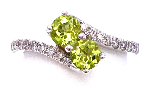 Peridot Bypass Style Ring With Diamonds A330B294610