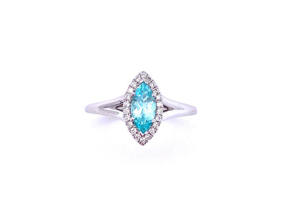 Marquis Shaped Paraiba Tourmaline and Diamond Ring C038LCK30068