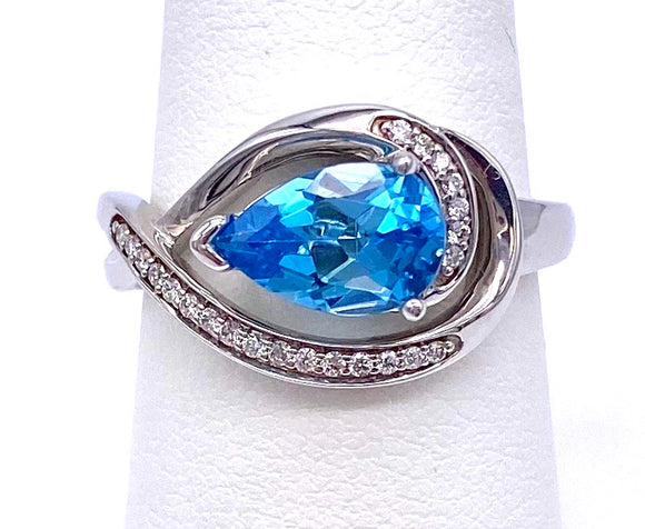 East West Pear shaped Blue Topaz Ring C368RPF180B21W1