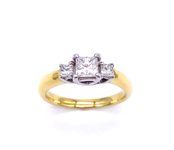 Three Stone Princess Cut Diamond Ring In 18K A846LP1386
