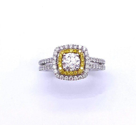 White Diamond Ring with Yellow Diamond Halo A3301.25TW
