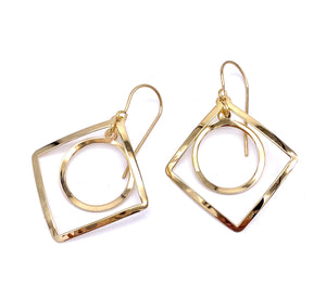 Yellow Gold Square and Circle Dangle Earrings F02114041