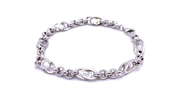 White Gold Varied Link Bracelet F004LF921