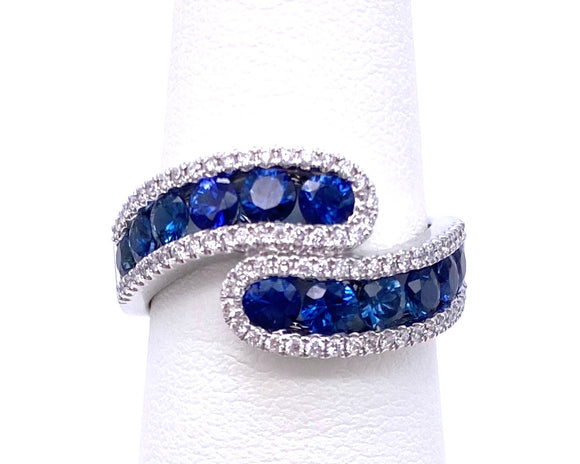 Sapphire And Diamond Bypass Style Ring A093UR1260WSP